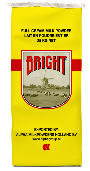 Bright full cream milk powder alpha milkpowders 25 kg bag
